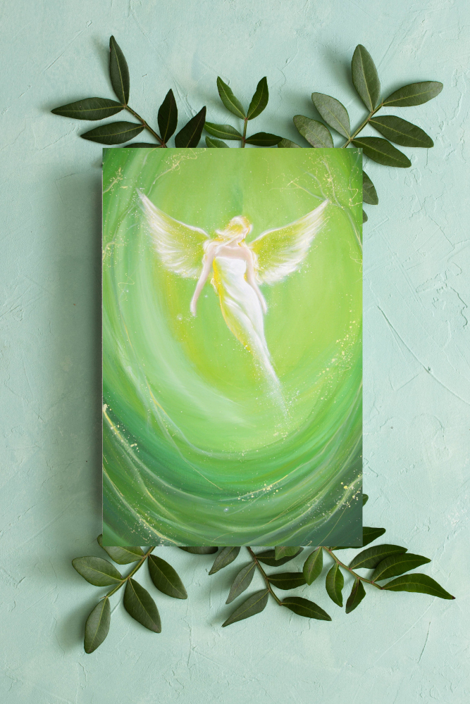 Engel Druck mit Blättern