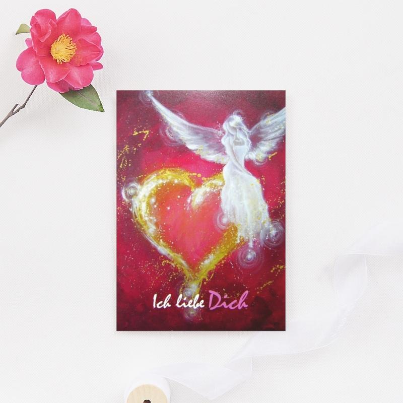 Engelkarte - Engel Postkarte Ich liebe Dich - henriettes