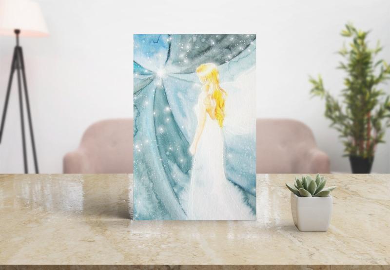 Engelbild in Blau mit vielen Sternen