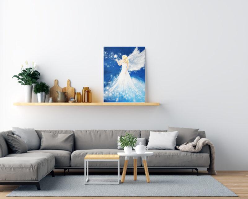 Engeldruck Wohnbild mit Sofa