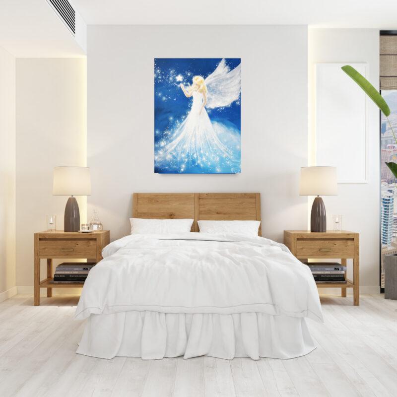 Engel Druck Wohnbild mit Bett